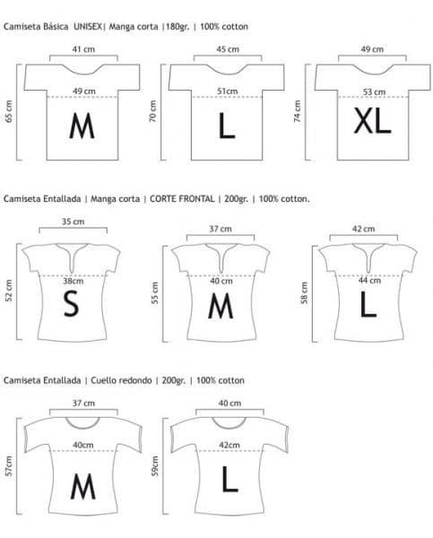 Tabla de conversión para camisetas (Entalladas y/o Básicas)