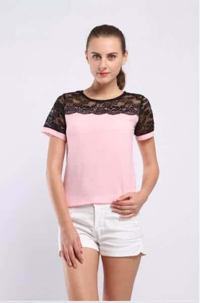 camiseta rosa verano