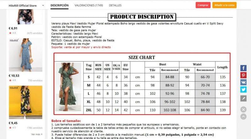 tabla de tallas para vestidos