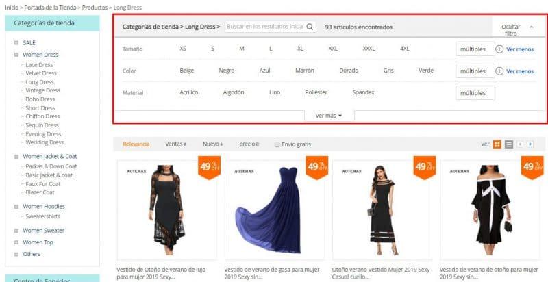 buscador tallas de abrigos y vestidos
