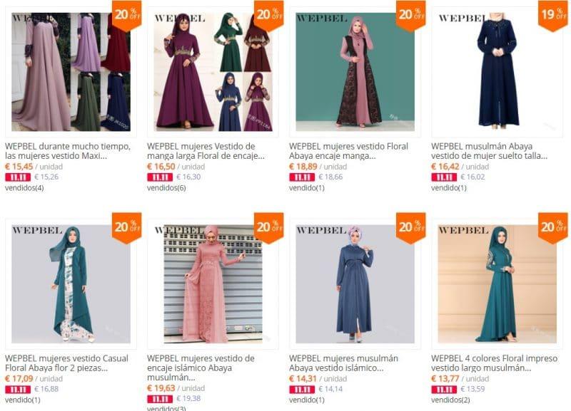 ropa musulmana talla grande