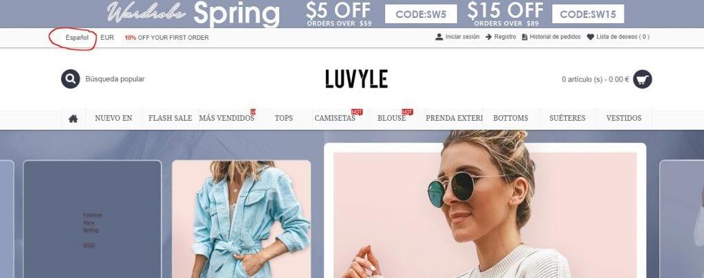 cambiar a español el idioma de la tienda Luvyle