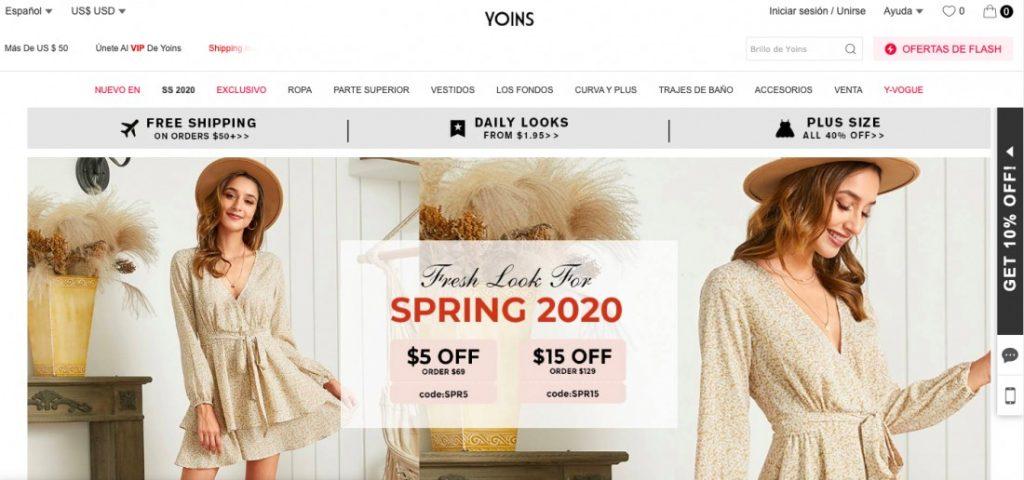 tienda de ropa Yoins