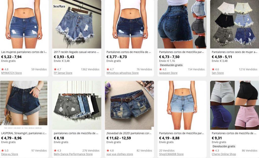 Pantalones cortos vaqueros para mujer
