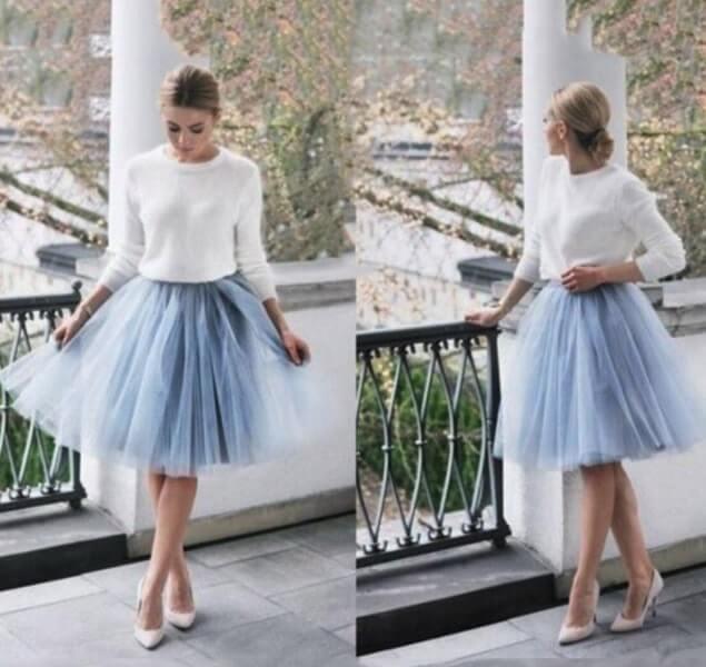 Falda de tul midi de 7 capas