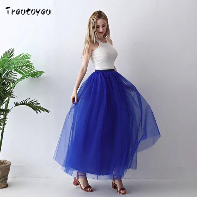falda de tul larga