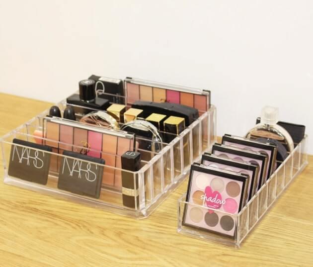 Organizador de maquillaje acrílico transparente
