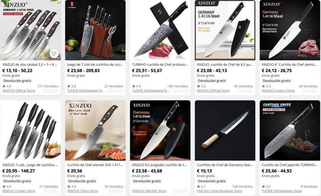 Cuchillos de cocina en Aliexpress