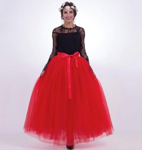 falda de tul roja