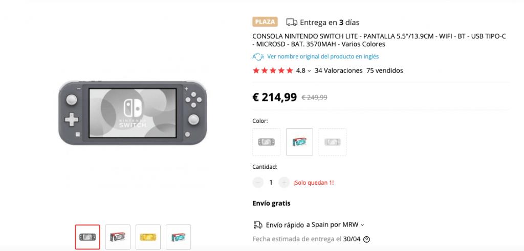 Nintendo Switch Lite en Aliexpress